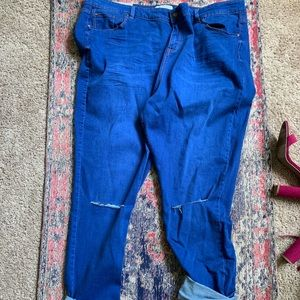 Blue jeans with knee slits